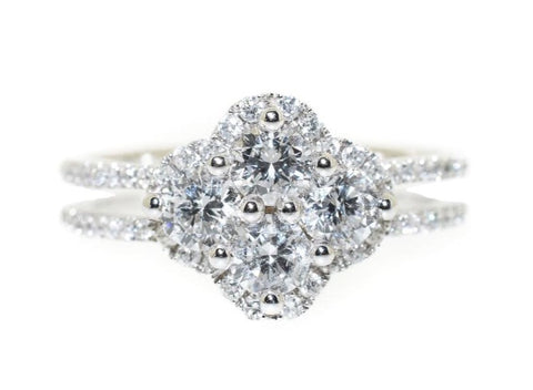 14kt white gold diamond cluster fashion ring with halo and split shank