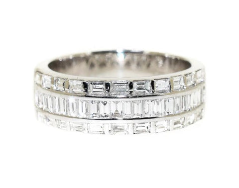 18kt white gold three row baguette diamond ring