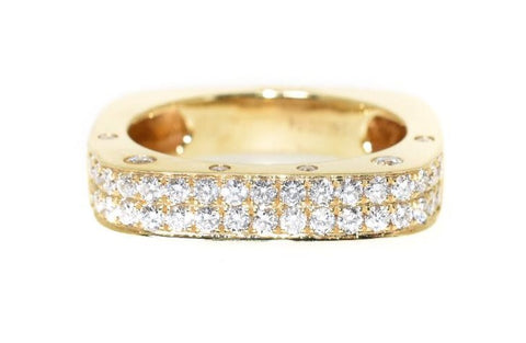 14kt yellow gold diamond square ring