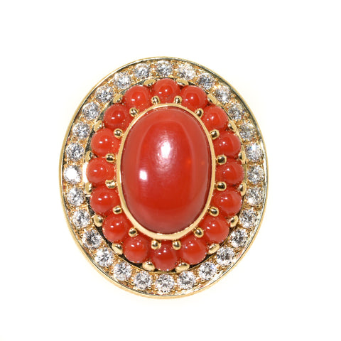 18kt yellow gold natural coral and diamond cocktail ring