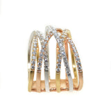 18kt tri color multi row diamond crossover ring, white gold, yellow gold, rose gold