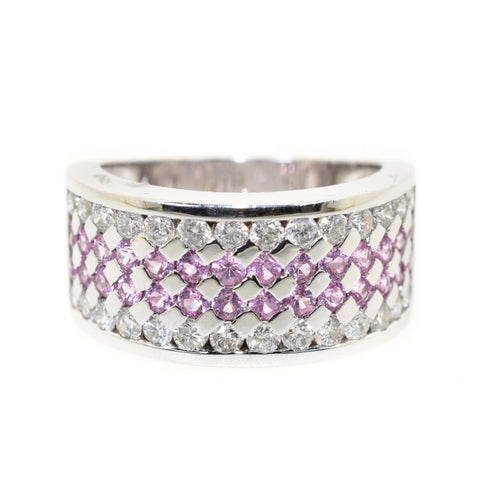 14kt white gold pink sapphire and diamond band