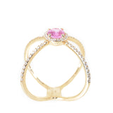 14kt yellow gold pink sapphire and diamond fashion x ring