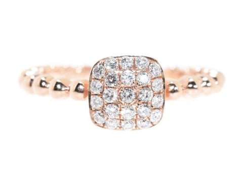 14kt Rose Gold Beaded Diamond Pave Ring