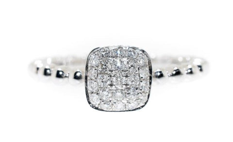 white gold beaded diamond pave ring