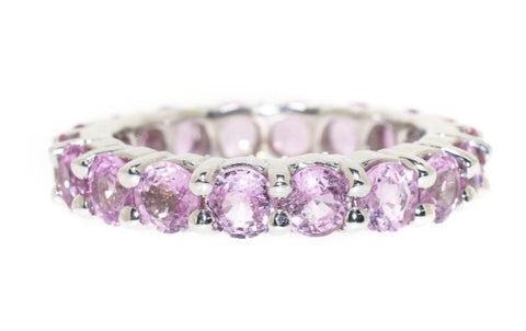 14kt white gold pink sapphire eternity ring