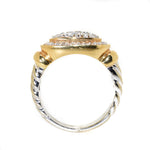 18kt Two Tone Diamond Cable Ring