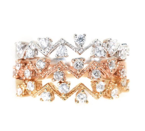 18kt Tri-Color Stackable Diamond Ring Set