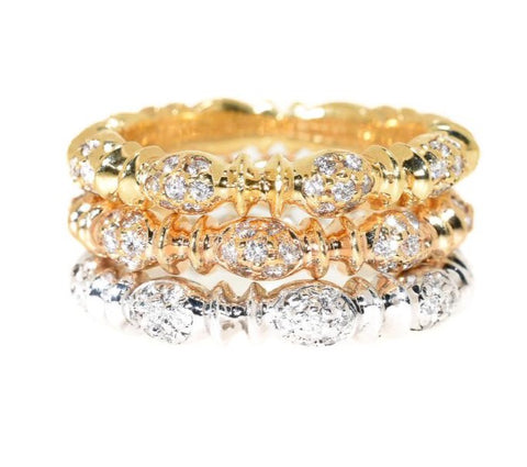 18kt Tri-Color Stackable Diamond Eternity Ring Set