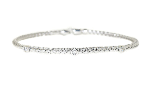 white gold woven diamond stackable bracelet