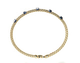 yellow gold woven diamond stackable bracelet