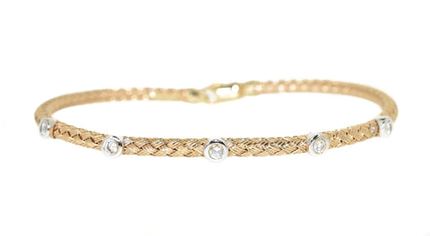 Yellow Gold Woven Stackable Diamond Bracelet