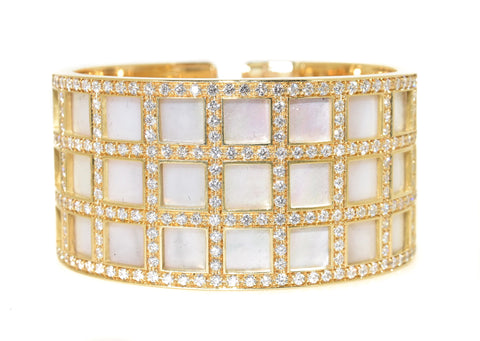 yellow gold mother of pearl and diamond cuff bracelet