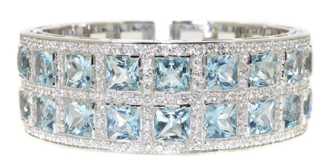 white gold aquamarine and diamond cuff bracelet