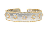 two tone hand engraved Florentine style cuff bracelet with diamonds