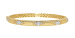 yellow gold hand engraved Florentine stackable diamond bangle bracelet