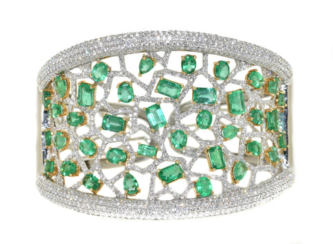 white gold and yellow gold diamond and emerald cuff bracelet