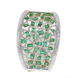 two tone emerald and diamond cuff bracelet