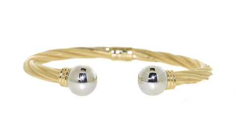 yellow gold and white gold twisted cuff bracelet