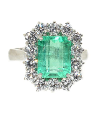 18kt White Gold Colombian Emerald & Diamond Ring