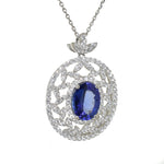 White Gold Tanzanite & Diamond Pendant