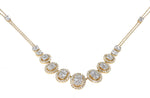 yellow gold diamond halo fashion necklace
