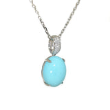 white gold turquoise and diamond pendant