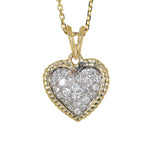 white gold and yellow gold diamond heart pendant
