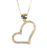 yellow gold diamond heart pendant