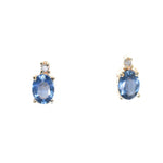 yellow gold blue sapphire and diamond stud earrings