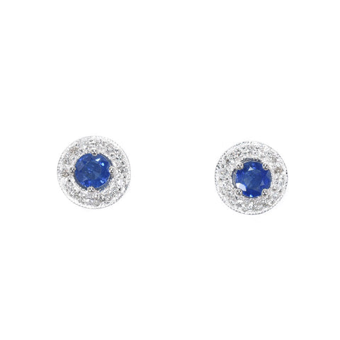 white gold blue sapphire and diamond stud earrings