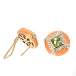 yellow gold orange enamel earrings with peridot and diamonds