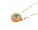 yellow gold orange enamel pendant with peridot and diamonds