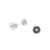 white gold black and white diamond flower stud earrings