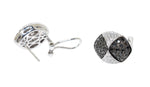 white gold black diamond and white diamond earrings