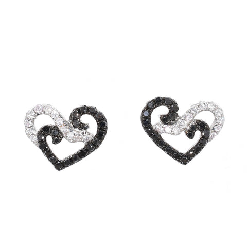 white gold earrings with black diamonds and white diamonds
