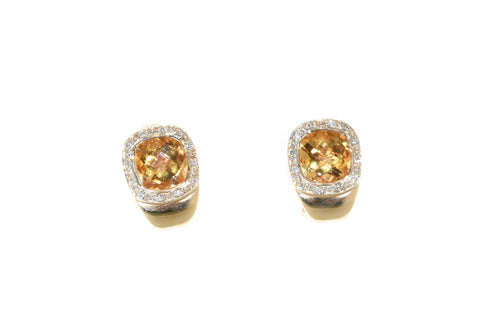 yellow gold citrine and diamond huggie earrings