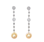 white gold diamond and gold south sea pearl long drop earrings