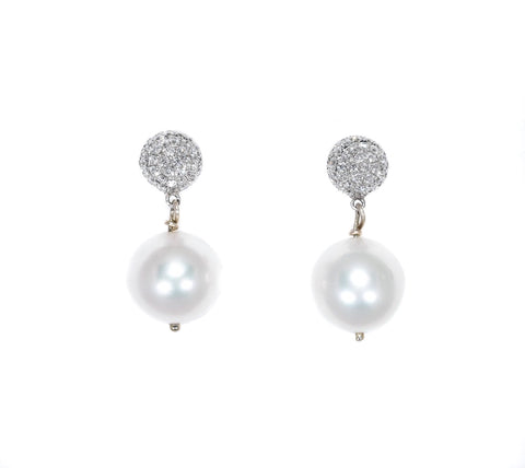 white gold drop earrings with white south sea pearls and diamonds
