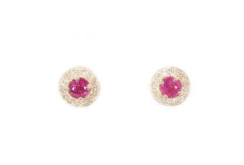 yellow gold ruby stud earrings with diamond halo