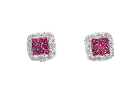 white gold diamond and pink sapphire cluster earrings