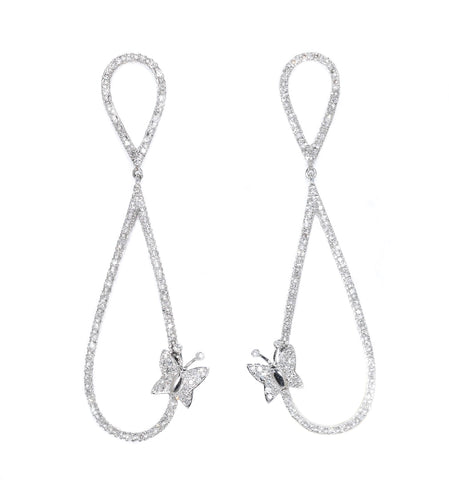 white gold diamond butterfly earrings