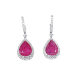 white gold pear shaped ruby and diamond drop earrings