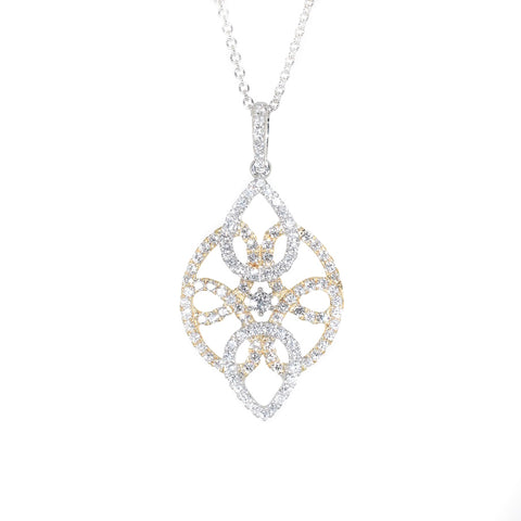 white gold and yellow gold diamond fashion pendant necklace
