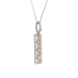 white gold and rose gold diamond bar pendant necklace