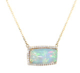 yellow gold opal and diamond necklace