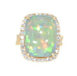 yellow gold opal and diamond cocktail ring