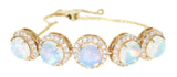 yellow gold diamond and opal bolo bracelet