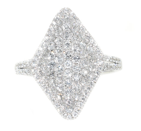 white gold diamond pave marquise shaped fashion ring