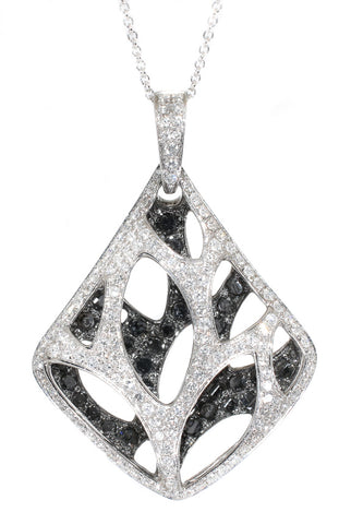 white gold black and white diamond pendant